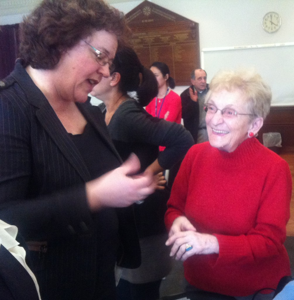 Senator the Hon Jacinta Collins, Minister for Mental Health and Ageing, speaking with Maria Nagy from the Hungarian Aged & Invalid Persons Association