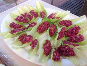 Beetroot salad on lettuce leaf, an Estonian entree